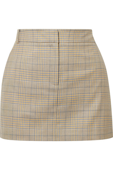 Tibi - Cooper Prince of Wales checked wool and silk-blend mini skirt