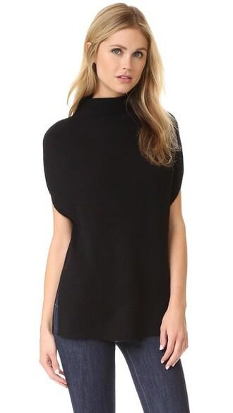 turtleneck sleeveless black sweater