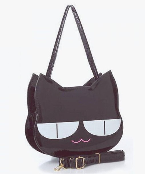 bag kawaii style cats fashion kawaii bag black goth cats