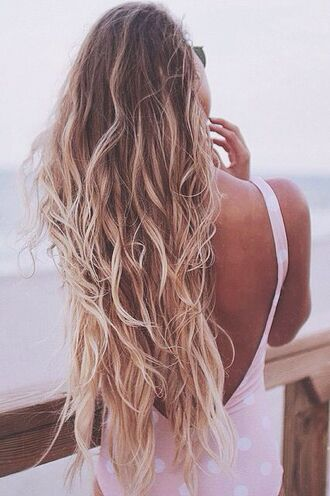 make-up beach hair long hair blonde hair ombre hair swimwear one piece swimsuit wavy hair