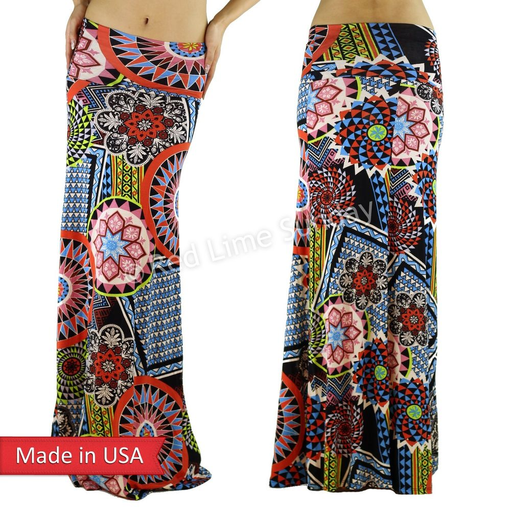 New Women Geometric Pop Color Flower Floral Print Fold Over Long Maxi Skirt USA