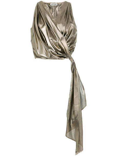 Attico top wrap top women silk grey metallic