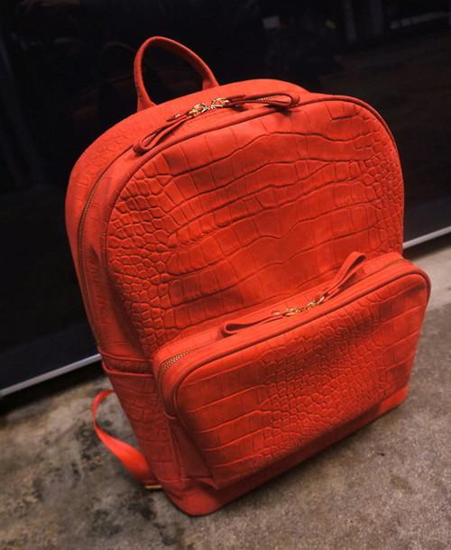 bag red texture snake backpack orange fashion crocodile