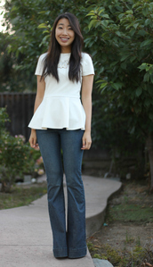 joyful outfits,jewels,t-shirt,jeans,shoes,white peplum top,flare jeans,forever 21,steve madden