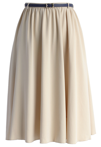 skirt belted elegance chiffon midi skirt in beige chicwish chiffon skirt midi skirt beige skirt summer skirt chicwish.com