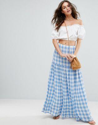 ASOS High Waisted Maxi Skirt in Gingham at asos.com