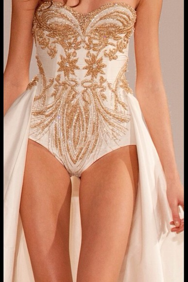 dress white tumblr model fashion skirt top bodysuit gold vogue