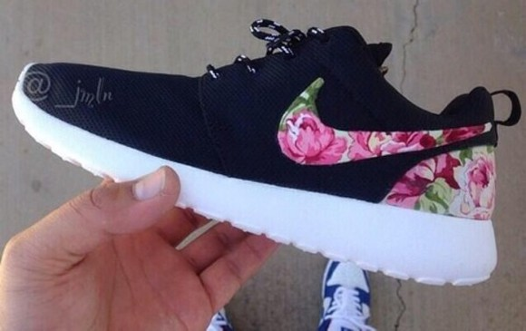 floral shoes nike roshe run roshes nike floral nike shoes womens roshe runs nike running shoes black white nike pink flowers black, flower, nike black, rose print, nike roshe, custom flowers