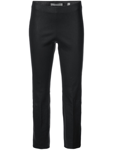 Vince cropped women leather black pants