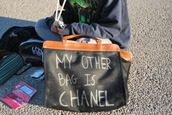 bag,my other bag is chanel,chanel fake,summer,black,chalk,funny,hippie,vodka,handbag,purse,clutch,cute,diy,clothes,white,writing,tote bag,trendy,bags and purses,leather,shoulder bag