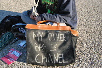 bag chanel my other bag is chanel chanel fake summer black chalk funny hippie vodka handbag purse clutch cute diy clothes chanel inspired white writing tote bag trendy bags and purses leather shoulder bag