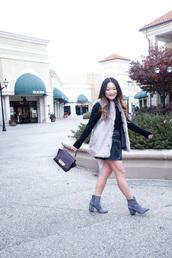tineey,blogger,jacket,shoes,bag,faux fur vest,mini skirt,grey boots,ankle boots,handbag,grey fur vest
