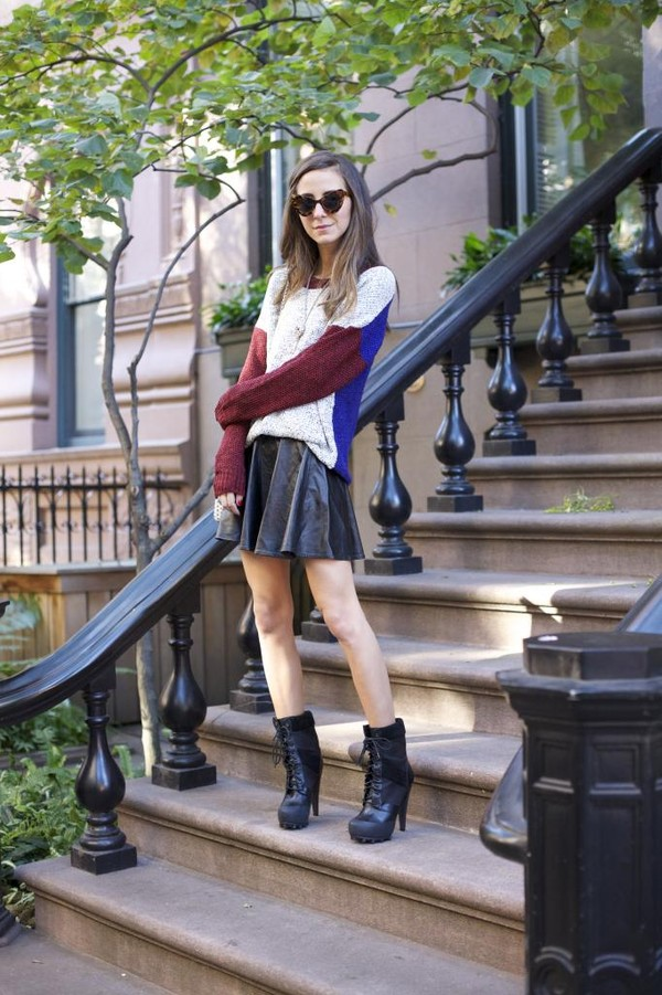 something navy sweater skirt shoes bag sunglasses