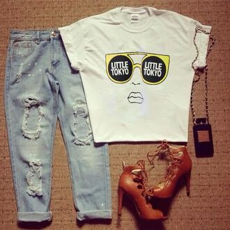 t-shirt tokyo sunglasses ripped jeans high heels jeans pants