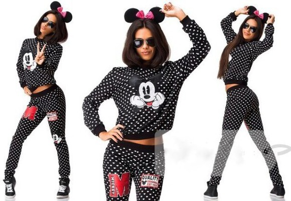 jumpsuit tracksuit polka dots mickey mouse sweater swag trendy cute sweatsuit sporty style pants