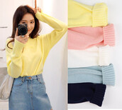 sweater,white,pink,yellow,navy,pastel sweater,v neck,v neck cardigan,colorful sweaters,pastel sweaters,pastel cardigans,sweet sweater,colorful tops,korean fashion,korean street style,jfashion,harajuku,dejavucat