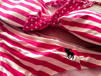 swimwear pink white abercrombie & fitch bikini bandeau