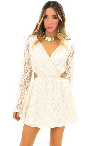 dress white lace floral summer wedding flowers long sleeved cut out