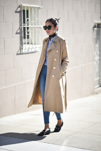 coat tumblr work outfits office outfits camel camel coat shirt blue shirt denim jeans blue jeans shoes black shoes loafers black loafers scarf sunglasses