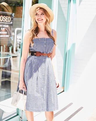 dress hat tumblr gingham midi dress blue dress belt sun hat bag handbag gingham dresses