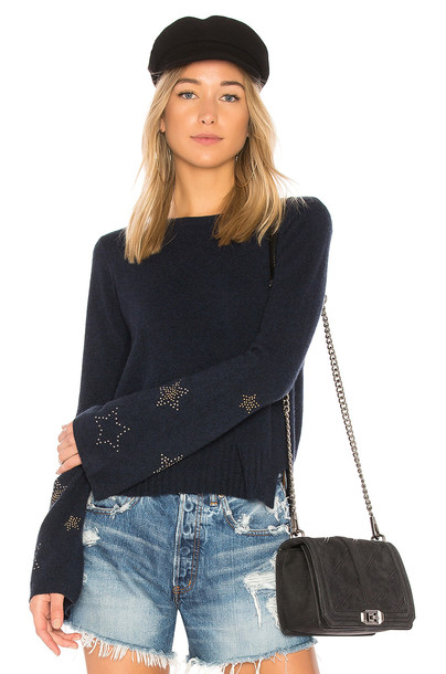 Autumn Cashmere sweater bell sleeve sweater navy