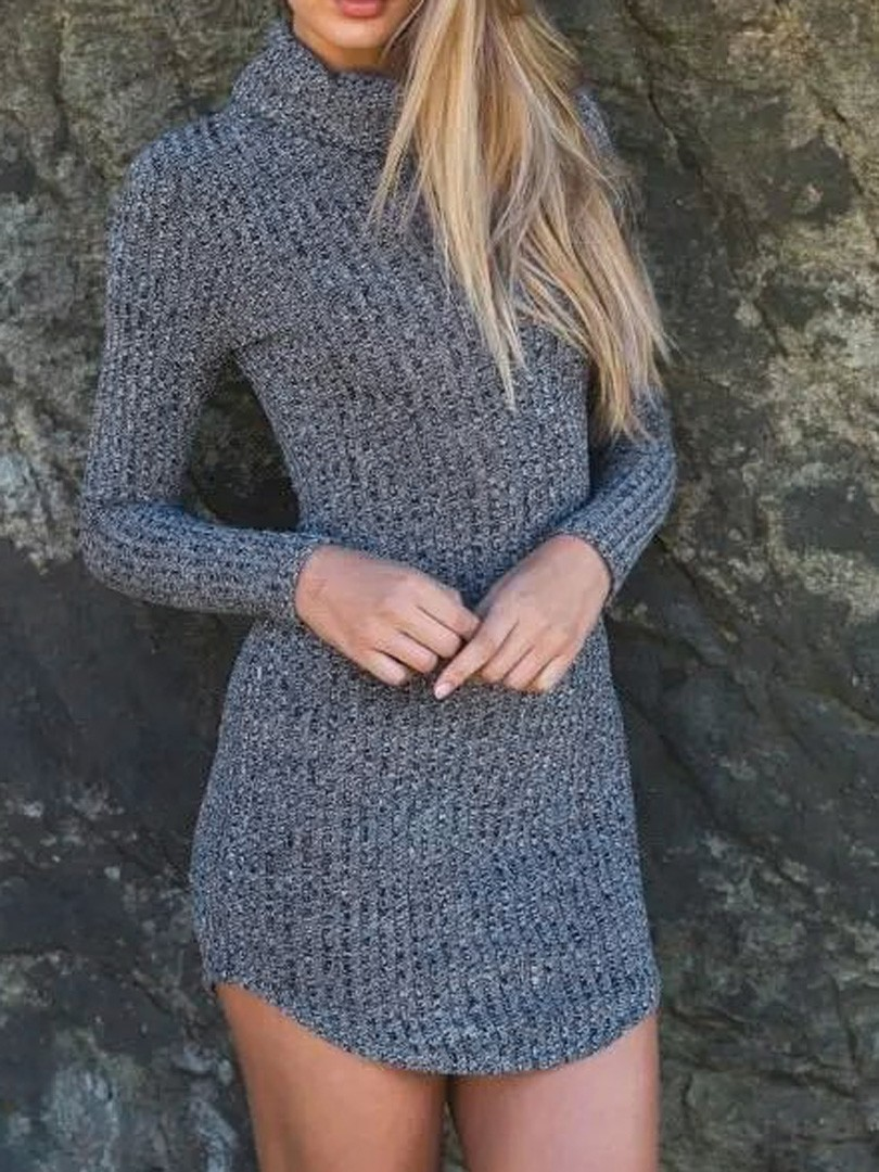 2e57d700dd Gray High Roll Neck Long Sleeve Bodycon Mini Sweater Dress