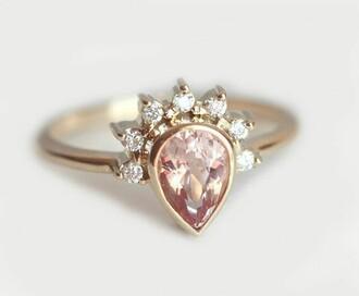 jewels ring bagues morganite ring rose gold
