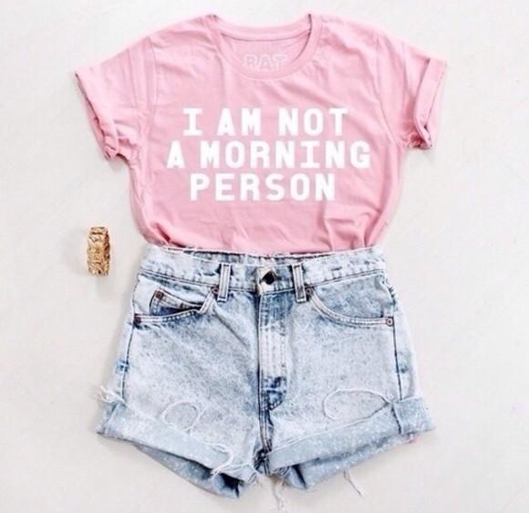 t-shirt pale pink i am not a morning person batoko www.batoko.com