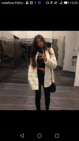 coat white fur winter coat