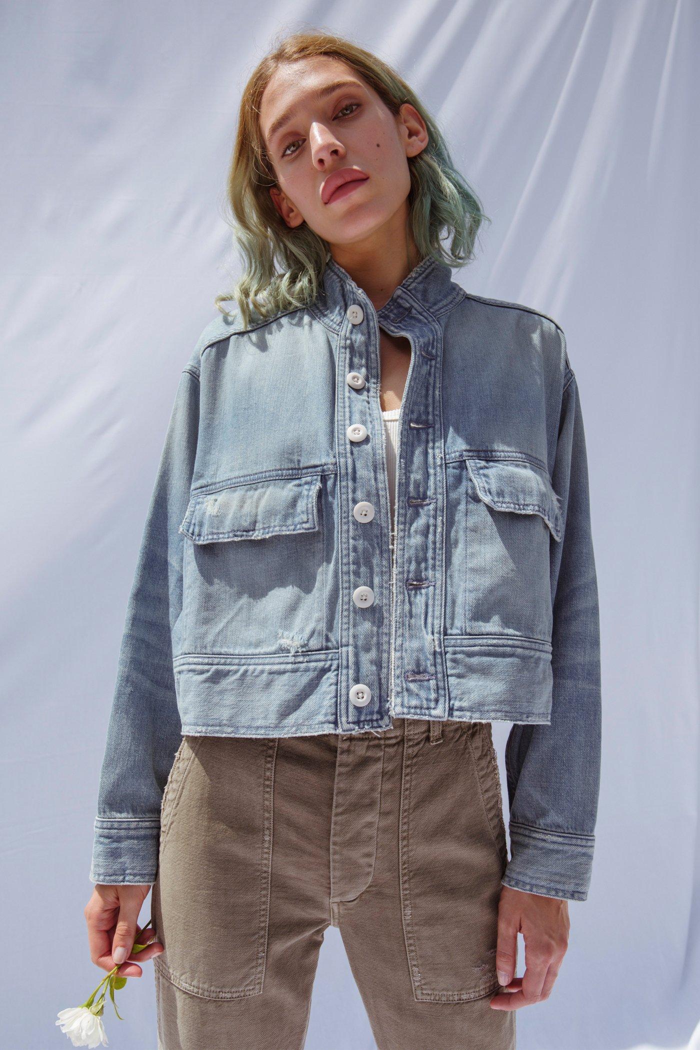 Army Patch Jacket Vintage BlueL
