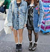 jacket,denim jacket,oversized,acid wash,90s style,soft grunge,tights,blue