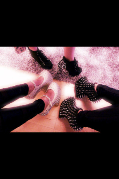 shoes silver studs studs cute