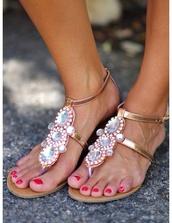shoes,sandals,summer,flatforms,flat sandals,gold,rose gold,glitter,diamonds,rhinestones,metallic,jeweled sandals,gold sandals