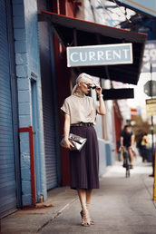 masha sedgwick,blogger,pleated skirt,strappy sandals,nympha london,classy,metallic clutch,plum,midi skirt,office outfits,nude top,silver clutch,Silver sandals