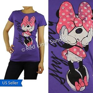 Disney Purple Minnie Mouse Shy Girl Print Color Cotton T Shirt Top Junior New