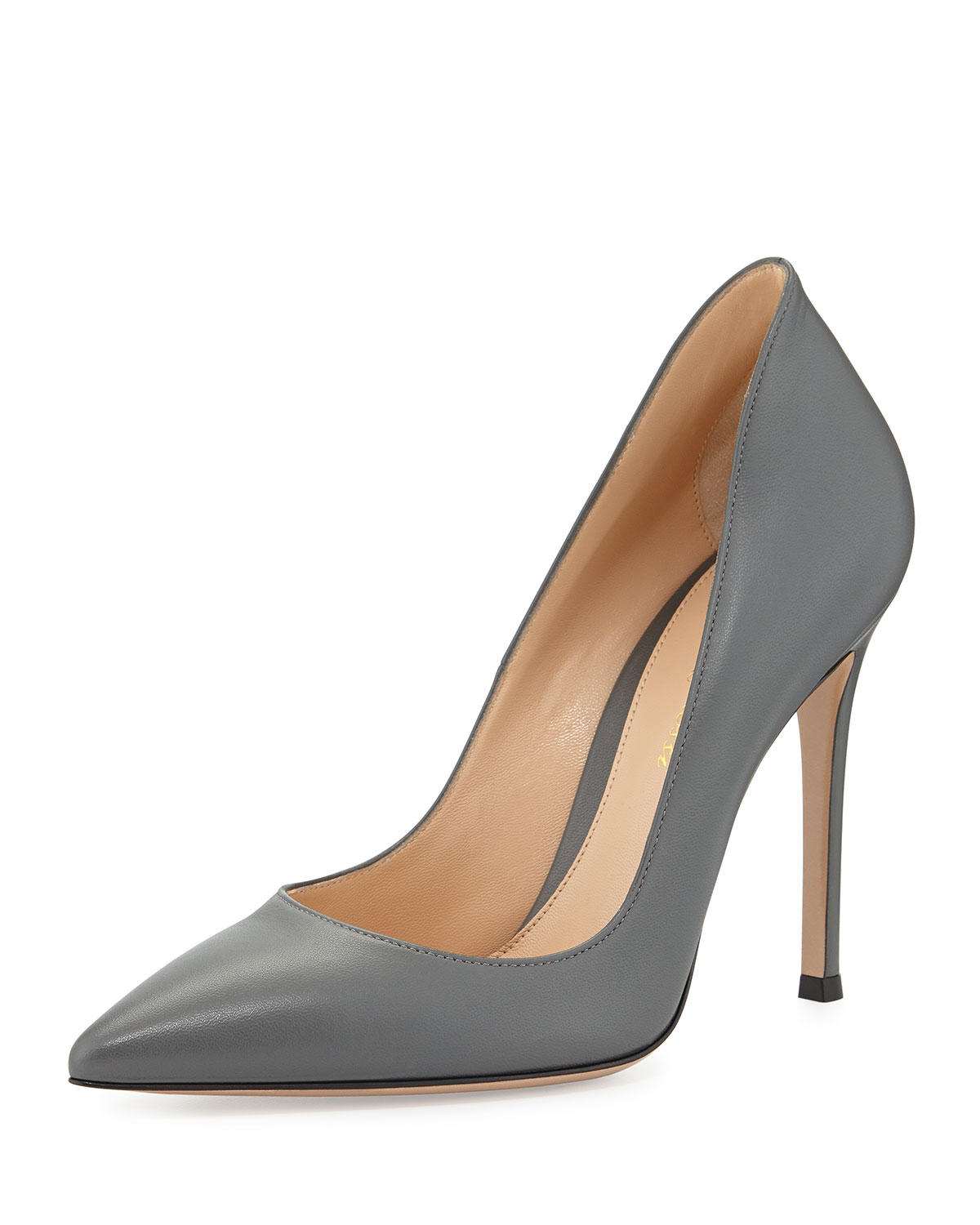 Gianvito Rossi Leather Pointed-Toe Pump, Gray