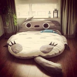 lit totoro bedding cute white grey cats