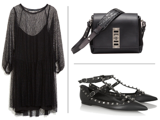 blame it on fashion blogger bag studded shoes black dress crocodile