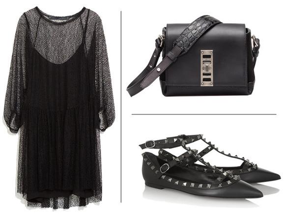 studded shoes blogger bag blame it on fashion black dress crocodile