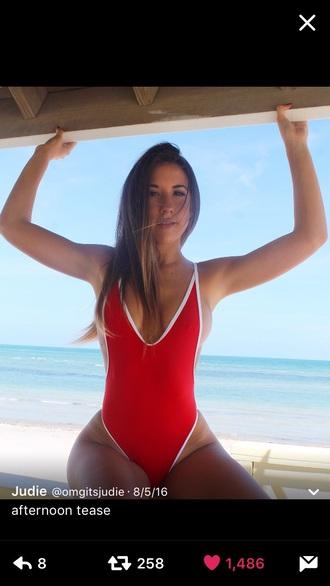 swimwear red one piece swimsuit