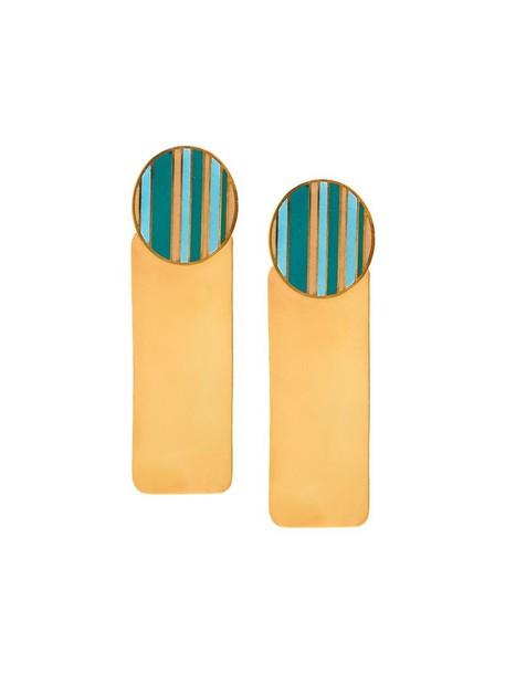 women geometric earrings gold grey metallic jewels