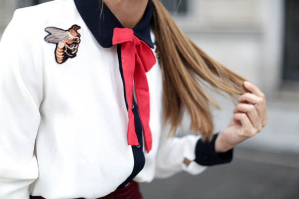 08e375b0492859 shirt tumblr satin satin shirt embroidered white shirt patch gucci bee  insects bow embroidered satin shirt