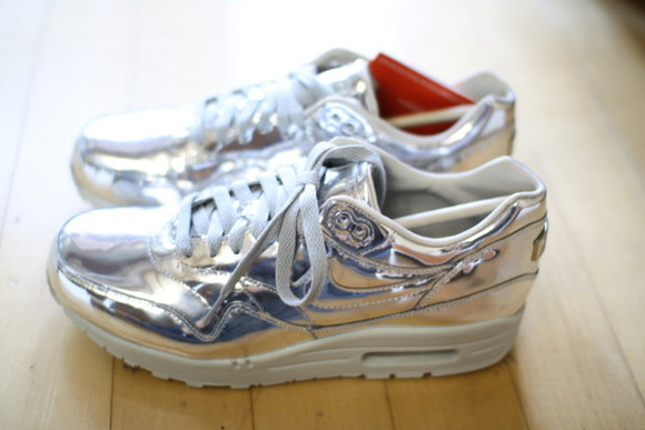 silver shoes nike nike air max sneakers