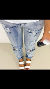 jeans,boyfriend jeans,blue jeans,shoes,white shoes,heels,white heels,casual,cute outfits,outfit,ripped  jeans,ripped boyfriend jeans,stylish,style,trendy,winter outfits,summer,fall outfits,spring,cute shoes,cute,sandals,white sandals,white high heel,ootd,summer outfits,spring outfits,elegant,beautiful,hipster,tumblr look,tumblr girl,tumblr style,tumblr fashion,tumblr,tumblr output fit,tumblr outfit,white shoes every day look ootd,cropped,acid wash,denim,pants,pajamas