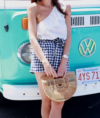 shorts tumblr gingham bag handbag top off the shoulder ruffle one shoulder
