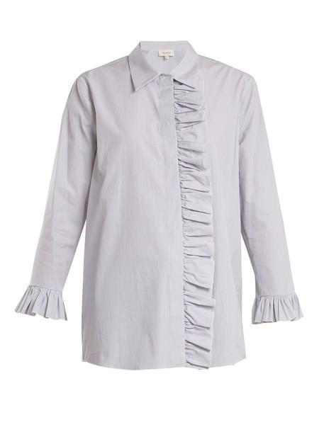 shirt ruffle cotton white top