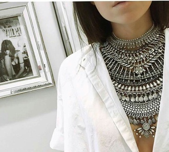 jewels kylie jenner jewelry boho jewelry necklace silver statement necklace blouse t-shirt white dress dress