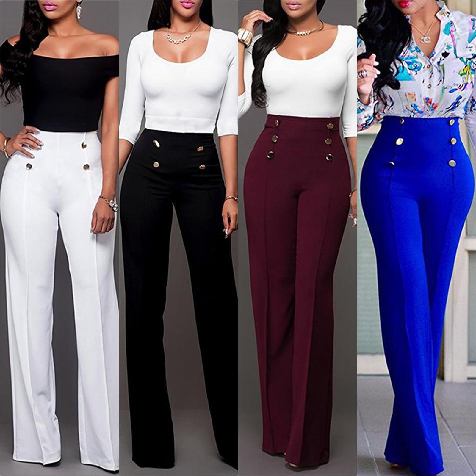 Womens High Waist Plain Palazzo Wide Leg Flared Plain Trousers OL Pants