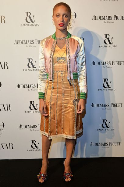 dress adwoa aboah model off-duty midi dress jacket sandals bomber jacket