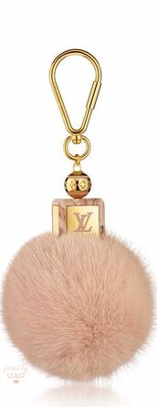 bag,bag charm,charm,puffy,fluffy,gold,pink,louis vuitton,keychain,fur keychain,fuzzy ball keychain,bag accessoires